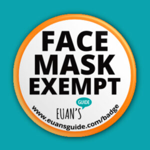 Euan's Guide face mask exempt badge with web address www.euansguide.com/badge