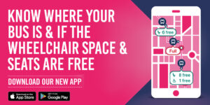 Bus app promotional graphic with text Know where your bus is and how many seats are free
