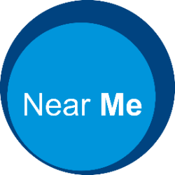 Near Me logo white text on a blue circle background