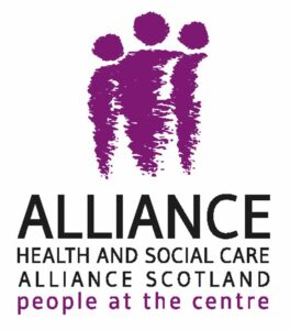 Alliance: Health and Social Care Alliance Scotland, featuring slogan people at the centre.